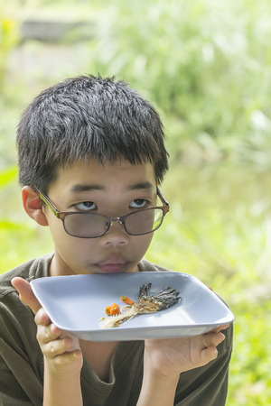 common snakehead: Portrait of Asian Thai pensive boy looks at fish bone of common snakehead fish fried eaten clearly on plate