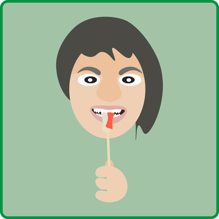 woman eat: Vector illustration woman eat imitation crab stick Illustration