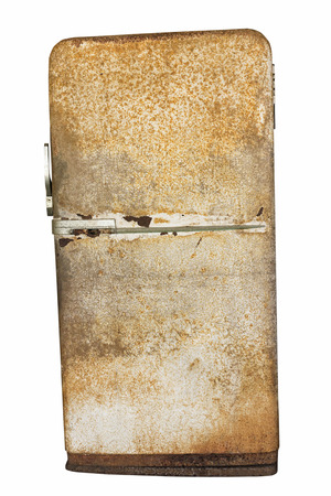 Retro very old rusted fridge refrigerator isolated on white background with clipping path Stock Photo