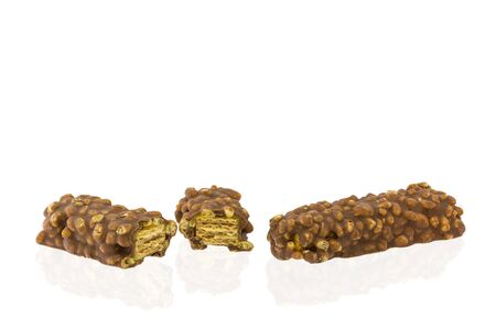 energy bar: Tasty chocolate energy bar covered wafer biscuit  with caramel isolated on white background