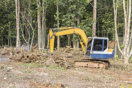 dozer: Crawler dozer working in the construction site Stock Photo