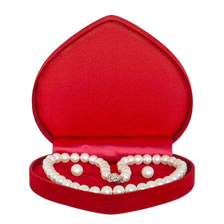 jewel box: Jewel box with pearl necklaces isolated on white background