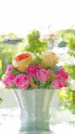 Vector illustration low poly bouquet of pink roses in vase decorated