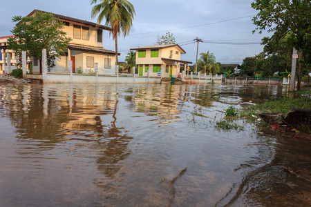 thailand flood: SURAT THANI, THAILAND - DECEMBER 15: Water flood in Chiya District on December 15, 2014 in Surat Thani, Thailand.
