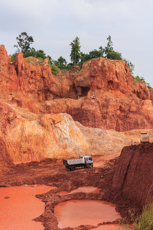 SURAT THANI, THAILAND - DECEMBER 20: Loaded big truck groundmoving on December 20, 2014 in Surat Thani, Thailand. Editorial