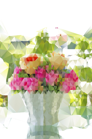 Low poly bouquet of pink roses in vase decorated