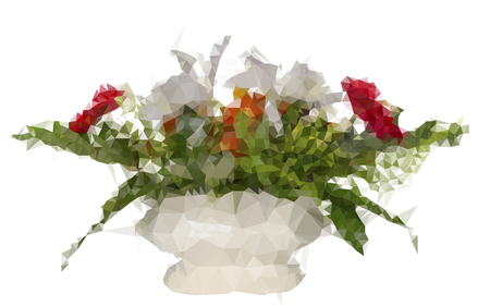 flower arrangement: Polygonal red flamingo flower and white cattleya flower arrangement in vase isolated on white background