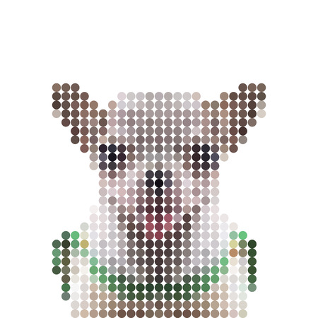 short haired: Vector illustration dot pixel head chihuahua dog isolated on white background