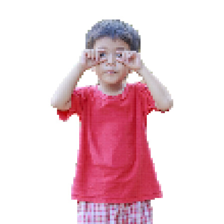 rounding: Vector illustration portrait of happy cute Asian Thai little boy rounding his eyes with his fingers isolated on white background