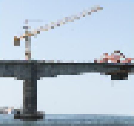 Vector illustration pixel construction site of bridge building across the island in Thailand
