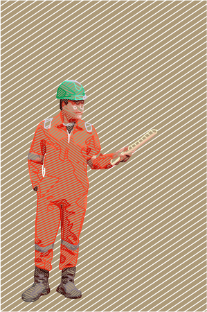 Vector illustration construction site worker wearing high visibility safety jacket standing and hold paper