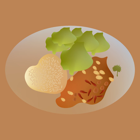 Vector illustration of rice with fried salmon fish and almond on dish Иллюстрация