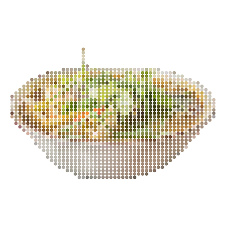 Vector illustration dot pixel of sour prawn soup isolated on white background