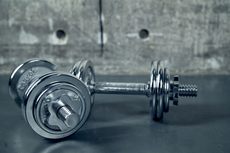 Two metallic dumbell Banque d'images