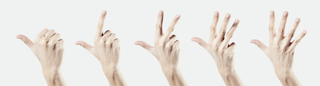 Man hand isolated on white backgrownd, one two three four five count by fingers