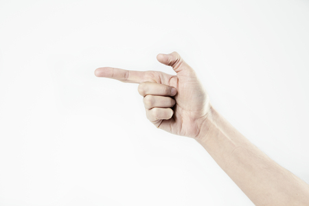 Mans hand point with a finger isolated on white Archivio Fotografico