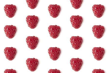 Fresh raspberry pattern isolated on white close-up