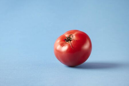 Fresh ripe red tomato on blue background, studio shot, empty space for layout. Healthy vegetarian concept, vegetables and fruits Banque d'images