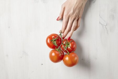 Fresh red tomatoes in womans hands with beautiful fingers, white wooden background, vegetarian farm products concept