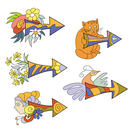 varicolored: varicolored arrows with flowers and animals
