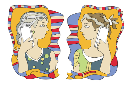 cell phones: girl with cell phones Illustration
