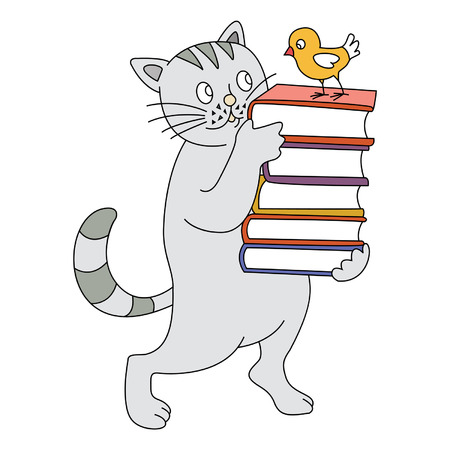 cat carries the book on which sits a bird Vector