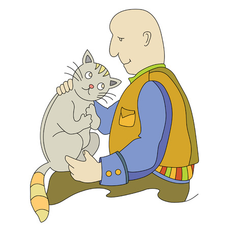 climbed: the owner strokes sad cat who climbed into his lap