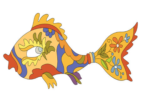 fanciful: bright decorative fish with patterns  Illustration
