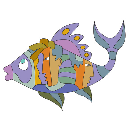 mysterious fish carrying in itself mens faces