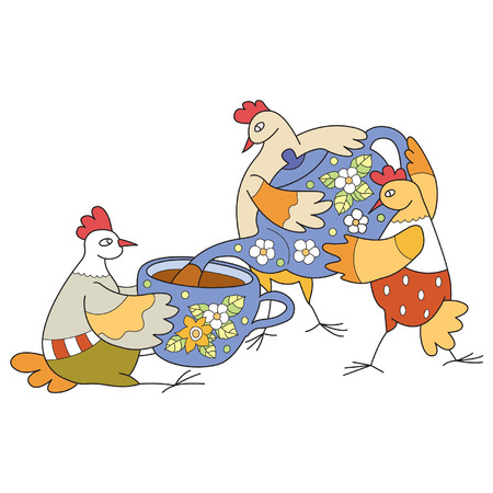 five o'clock: chickens arrange a five-hour tea party and  regale each other delicious tea Illustration