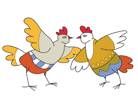 laughable: two chickens loud quarrel or just loudly and vociferously tell each other about something