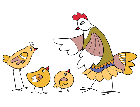 mother-hen scolds naughty chicks  Vector