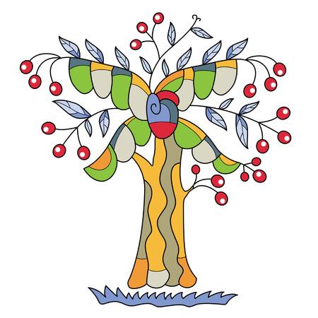 whorl: decorative tree, bright and unusual Illustration