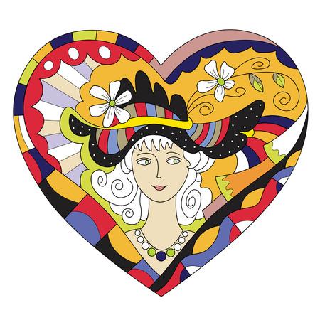 cabeza femenina: postal de San Valent�n con una cabeza femenina en un sombrero divertido
