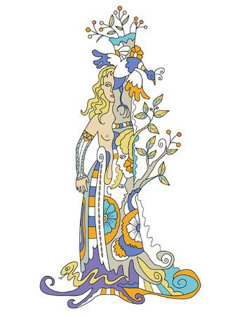 놀라운: 하나의 이미지로 연결 숲의 요정, 여자와 나무