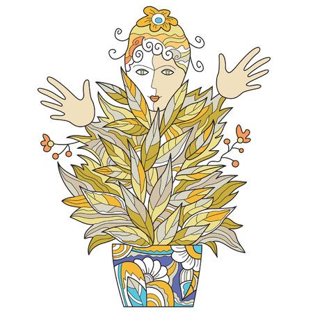whose: pianta insolita, i cui frutti assomigliano mani umane e la testa, una femmina fiore