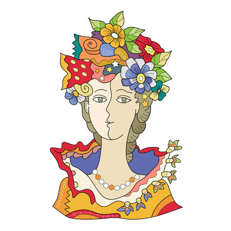 hair mask: girl with flowers in her hair