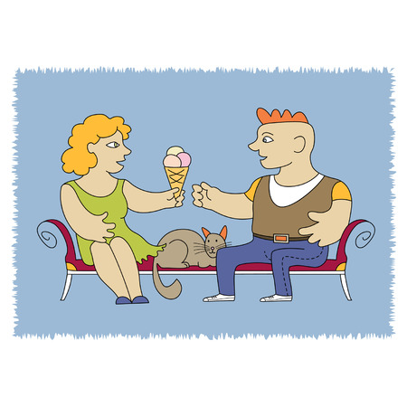 couple sitting on a bench, she regales Man ice cream, between them is a cat Vector