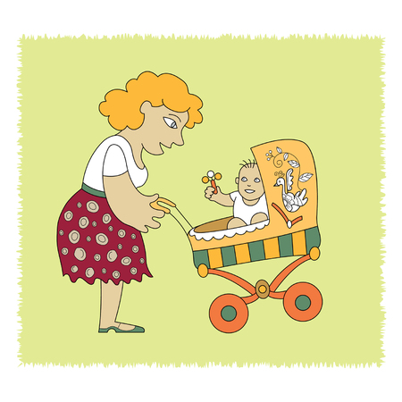 elegant young mother with her baby in a stroller Vector