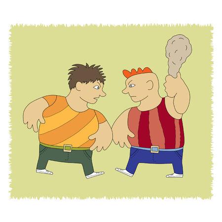 hassle: wo aggressive male quarrel and fray begin Illustration