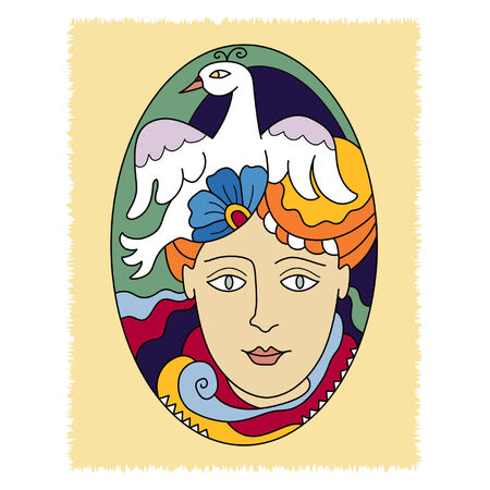 fanciful: decorative element in the form of an oval with womens head, flower and bird