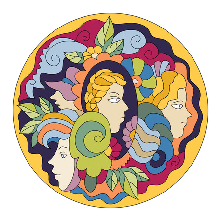 fanciful: decorative element in the form of a circle with womens heads and flowers
