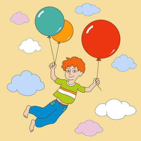 boy took off into the sky on colored balloons Vector