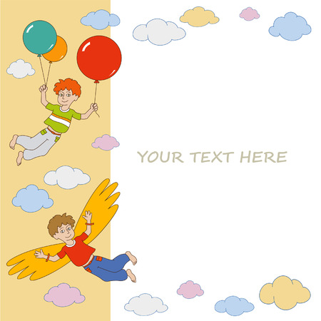 Colorful greetings card with two boys taking off into the sky on makeshift wings and colored balloons Illustration