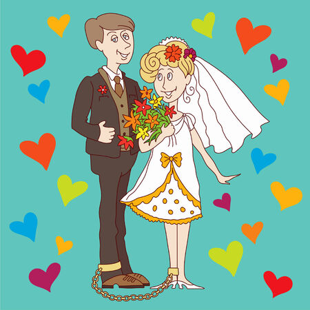 council: Chain binds happy newlyweds on their wedding day Illustration