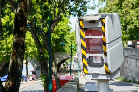 enforce: French traffic enforcement camera in the streets of Paris.