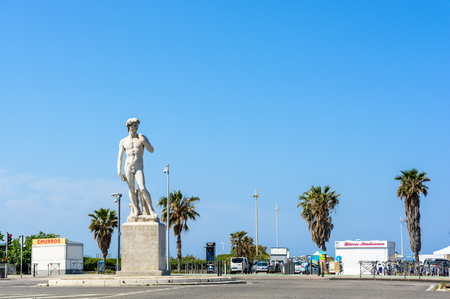 Marseille, France - May 19, 2018: The marble replica of Michelangelos statue of David was given to the city by french sculptor Jules Cantini in 1903 and installed in front of the Prado beach in 1949.