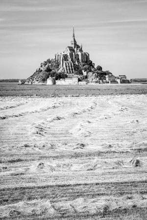 View of the Mont Saint-Michel tidal island, situated in France on the border between Normandy and Brittany, with hay windrows drying in a field in the foreground under a blue sky with fibrous clouds. Reklamní fotografie