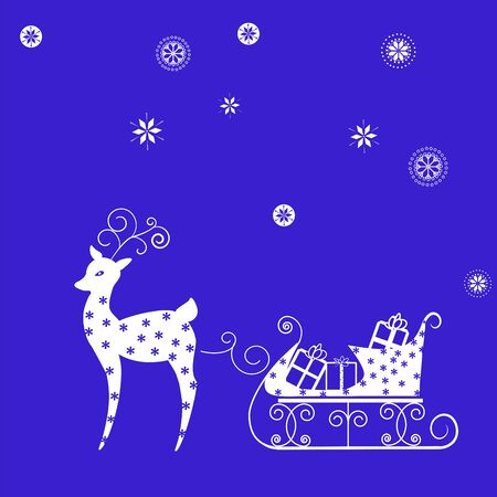 expectation: Christmas concept - deer, sleigh, presents, snowflakes on blue background Illustration