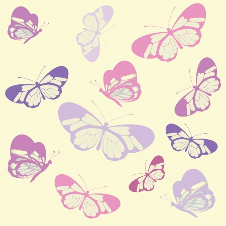 Seamless pattern with butterfly with transparent wings illustration